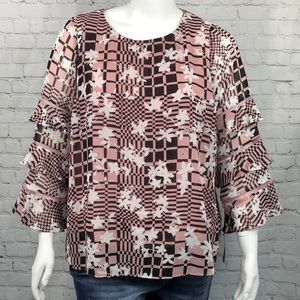 Alfani Pink White & Black Ruffle Sleeve Top 1X 3X